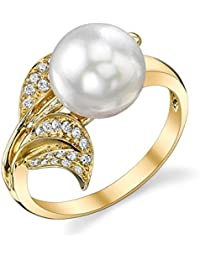 9mm White South Sea Cultured Pearl & Diamond Eva Ring in 18K Gold