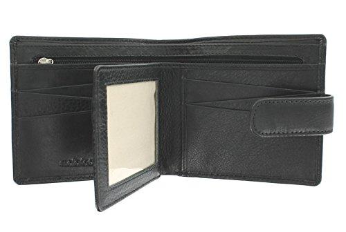 Mala Leather Collezione VERVE Portafoglio in pelle con liguetta di chiusura a pressione 131_26 Marrone Nero