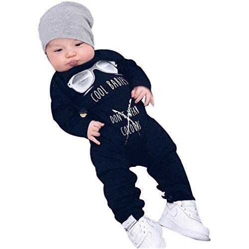 BeautyTop Baby-Overall-Kleidung, Neugeborene Baby Mädchen Kleidung Langarm Brief Drucken Strampler Overall Outfit (80/6-9 Monate, ()