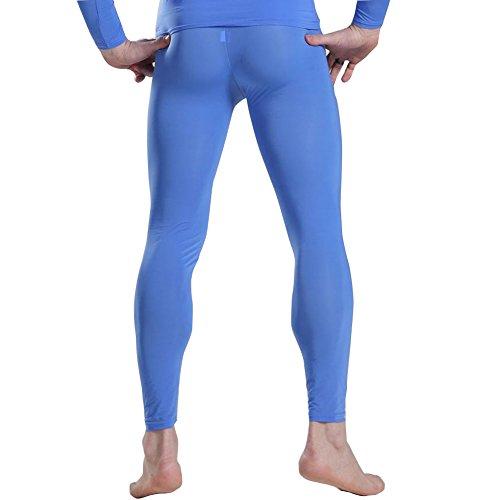 YiZYiF Herren lange Unterhosen mit Weichbund durchsichtig Hose Unterwäsche Strumpfhose Leggings Blau