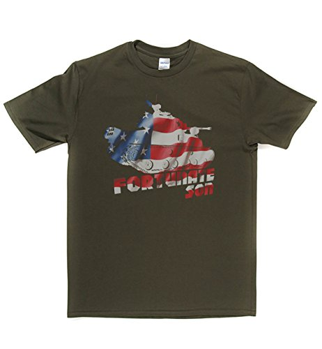 Rough Justice Fortunate Son Classic Rock Musik Legends Retro-T-Shirt Militär-Grün