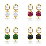 #6: Kiwi Kreation : 4 Pairs of Vibrant Colour Pearls Moti with Leaf Stone Earrings for Girls and Women