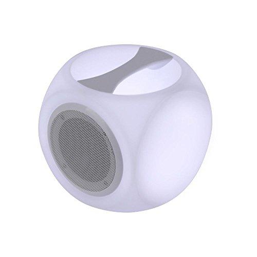 LED Akku Tischeuchte mit integriertem 10W Bluetooth Lautsprecher tragbare Musik Box Outdoor Würfel Lampe IR Fernbedienung Akkuleistung 2200 mAh RBG Farbwechsel -