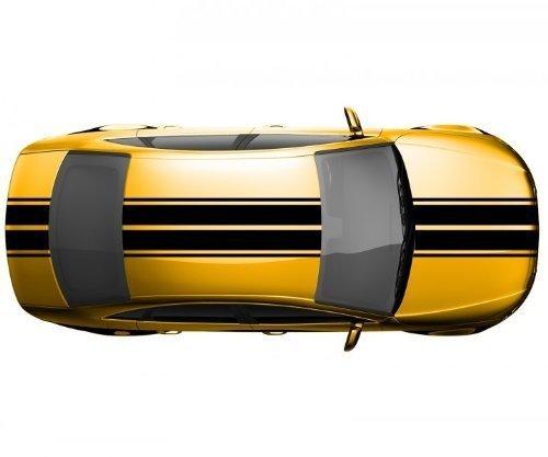 Viperstreifen 40 x 500 cm Rallystreifen Rennstreifen Autoaufkleber Viper 2N005, Farbe:Schwarz glanz