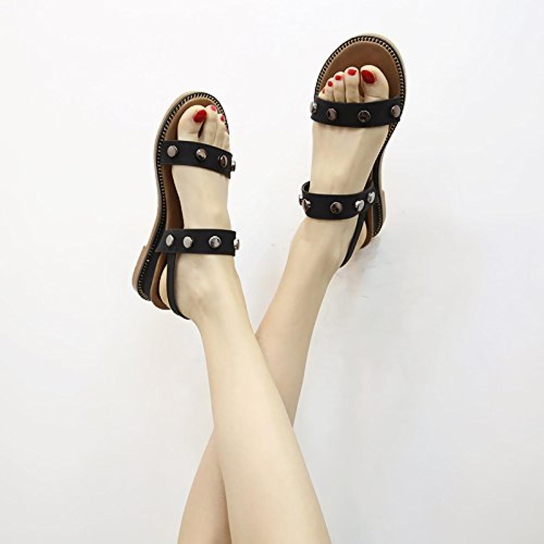 Angrousobiu Una pendiente con sandalias de verano femenina remaches salvajes, expuestos a la Romana Dew-The Sandals