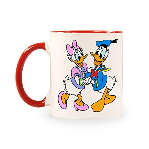 TANGGOOD Lustiger Kaffee Milch Tee Keramiktassen Morgen Tasse Getränke und Hochzeiten, Geburtstage, Vatertag ohne Löffel und Teller Donald Duck Paar