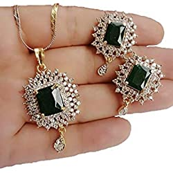 Blulune American Diamond SLITAIRE Studded Pendant (18 INCH Chain) with Earring Combo Set for Women and Girls Guaranteed