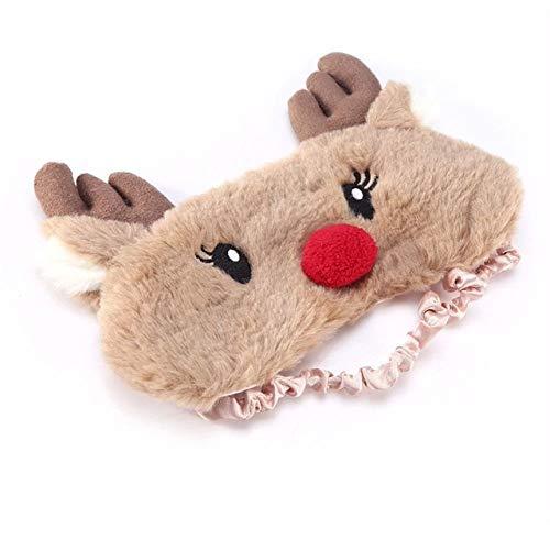 HIUGHJ Weihnachtsrotwild niedliche Tieraugendeckel Pl¨¹sch Schlafmaske Augenklappe Winter Cartoon Nickerchen Eyeshade f¨¹r, 1