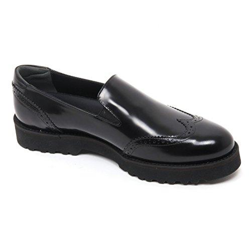 B7374 mocassino donna HOGAN H259 ROUTE scarpa pantofola nero shoe loafer woman Nero