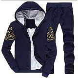 Herren Verdicken Fleece Gefüttert Jacke Kapuzen Sweatshirt Jogginghose Trainingsanzug Sets 2 Stücke Dunkelblau XL