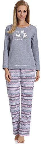 Cornette Damen Schlafanzug CR6552016 Melange/Weiß/Rot