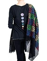 yoga bufanda-Wrap-meditación-gayatri mantra, color Negro - negro, tamaño 84 inches x 27 inches
