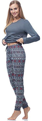 Ladeheid Damen Schlafanzug LA40-115 Muster-2 Grau