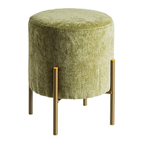 Puff tapizado de Terciopelo Verde Minimalista para salón Bretaña - L