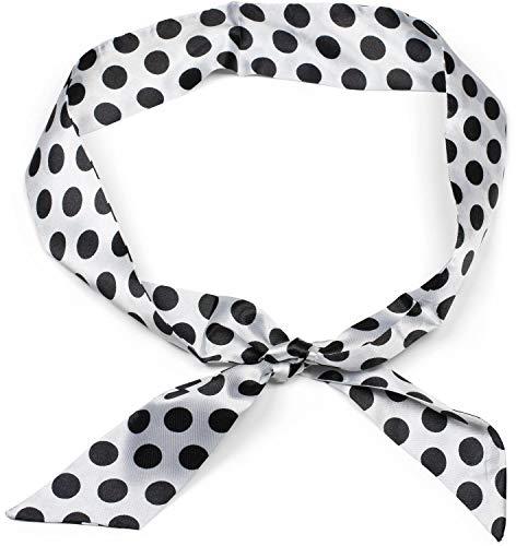 styleBREAKER Damen Multifunktionstuch schmal mit Polka Dots Punkte Muster, Haarband, Tuch, Halstuch, Schleife, Taschenband, Rockabilly 01020040, Farbe:Weiß-Schwarz