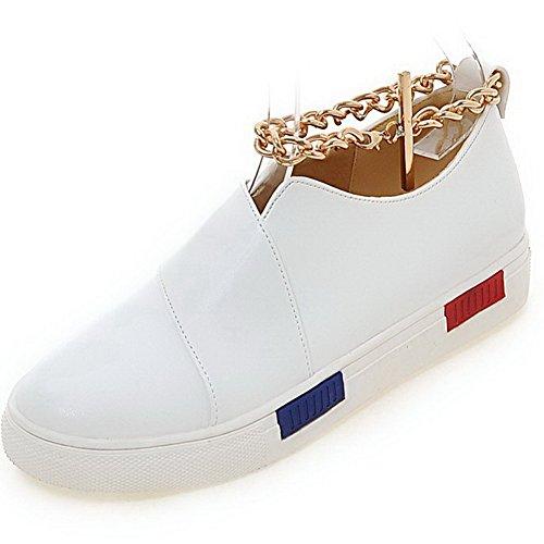 VogueZone009 Femme Rond Tire à Talon Bas Pu Cuir Couleur Unie Chaussures Légeres Blanc