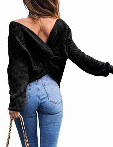 Femme Casual V-Col Lâche Automne Irrégulier Manches Chauve-souris Longue Pull-over Shirt Sexy(BL)