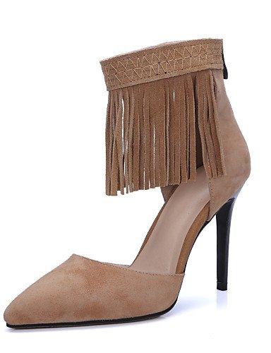 UWSZZ IL Sandali eleganti comfort Scarpe Donna-Sandali-Formale / Casual / Serata e festa-Tacchi / A punta-A stiletto-Scamosciato-Nero / Tessuto almond almond