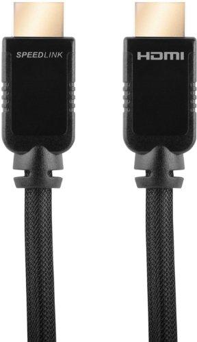 Speedlink HDMI Kabel für XBOX 360 - SHIELD-3 High Speed HDMI Cable with Ethernet (kristallklarer Ton und gestochen scharfes Bild - Unterstützt 1440p und 2160p - verzögerungsfreie Ton- und Bildübertragung) 2m Kabellänge schwarz