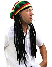 WIG ME UP ® - Bonnet avec Dreadlocks (Bob Marley, Rastafari)