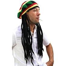 WIG ME UP  - rasta2-P103 - Gorro de punto con dreadlocks, pelos rasta Bob Marley, Rastafari