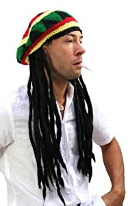 WIG ME UP ® - rasta2-P103 Strickmütze mit Dreadlocks (Bob Marley, Rastafari)