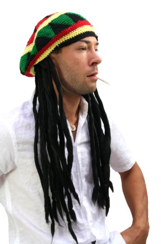 WIG ME UP ® - rasta2-P103 Strickmütze mit Dreadlocks (Bob Marley, Rastafari)