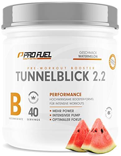 TUNNELBLICK 2.2 | Power • Fokus • Pump | Pre Workout Booster | DAS ORIGINAL von ProFuel ® | Pump Booster mit Guarana, Beta-Alanin & Tyrosin | 360g - 40 Portionen | WATERMELON (Wassermelone)