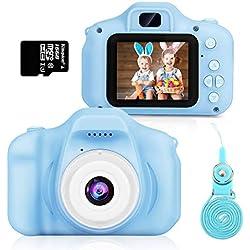 Hommie Appareil Photo Numérique pour Enfants, Caméra Enfant 2.4 Pouces LCD Double Objectif HD 8MP/1080P, Caméra Vidéo 2400 Mégapixels Coque en Silicone et Micro SD 16Go Inclus-Bleu
