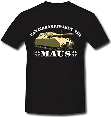 Wk Panzer Maus Wh Heer Panzerwagen VIII Bundeswehr Militär Sonderkraftwagen- T Shirt ##365, Farbe:Schwarz, Größe:Herren XL