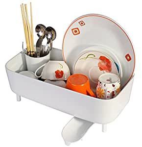 Kworld Plastic Kitchen Dish Drainer Rack with Cutlery Holder, White