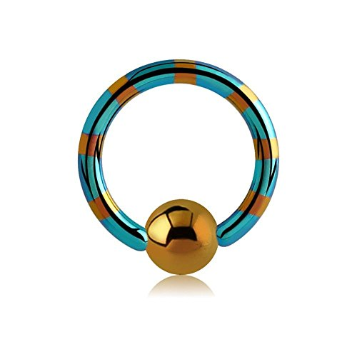 BodyJewelleryShop Zwei Ton-Titan Ball Closure Ring - Bronze & Green 1.6 x 16mm -