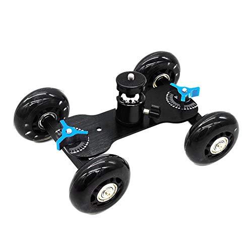 DSLR-Kamerawagen Kamera Tisch Dolly Slider mit 10 Kilogramm Tragkraft Skater Design Aluminium Ruten drehbar Gummiräder 1/4-Zoll Gewinde für DSLRs Video Camcorder (Schreibtisch Dolly)