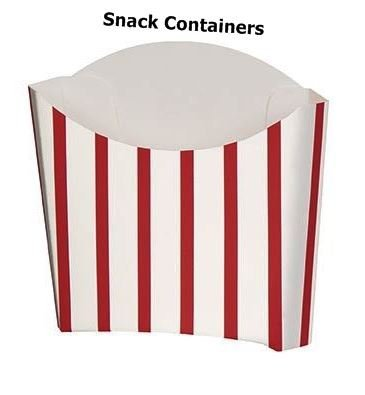 8 Snack Containers Party Red White Chips Retro Boxes Loot Treat Theme Stipe Favours Food Movie