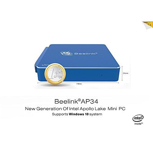 Beelink AP34 Mini PC Windows 10,DDR3 8Go 64Go eMMC,DIY SSD,Intel Apollo Lake N3450 4 Core Desktop PC,Aluminum Shell Fanless Intel Nus (1000Mbps/LAN / Double Bande Wifi / BT4.0 / USB 3.0)