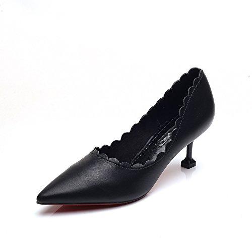 Chaussures À Talon Haut Orteil Chaussures À Talons Hauts Chaussures À Talons Hauts Version Coréenne De Quatre Saisons, Avec Extrémité Noire