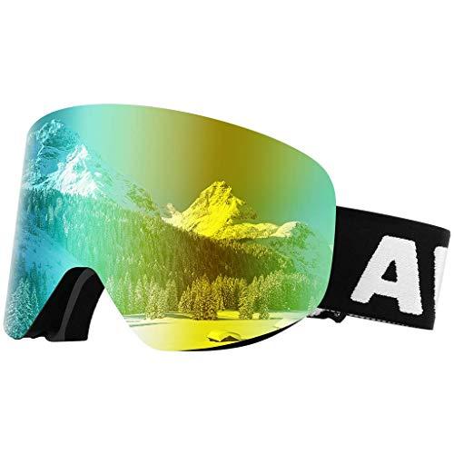 Awenia Skibrille Snowboardbrille Für Damen und Herren Brillenträger mit Anti-Nebel OTG UV400 Schutz,Rahmenlos und Austauschbarer,Für Männer,Frauen und Jugendliche,für Schneemobil Skifahren oder Skaten
