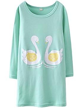 Schwan Nachthemden für Mädchen Langarm Nachthemd für Herbst-Winter 100% Baumwolle Grün (11-12 Jahre, Grün)