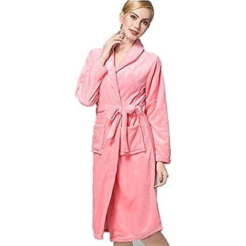 LIUDOUCaliente largo pijama franela vestido albornoz mujeres ropa , deep pink , xl