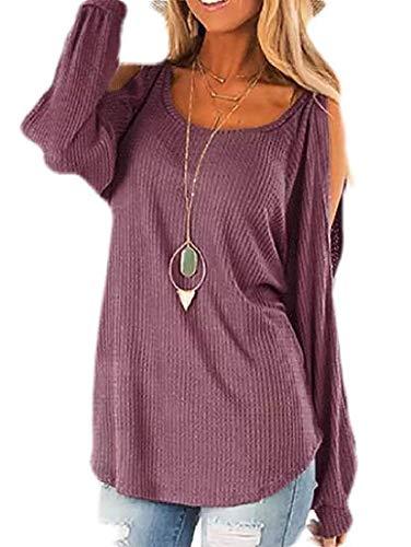 dahuo Womens Top Loose Cold Shoulder Plain Waffler Knit Tunic Blouse Long Sleeve T-Shirt 2 US-2XL -