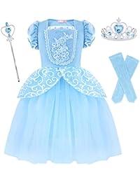 AmzBarley Vestido Traje Niñas Princesa Cenicienta de Tul Fiesta  Boda cc8b1c41bf1a