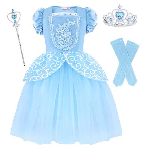 AmzBarley Aschenputtel Kostüm Kinder Mädchen Cinderella Prinzessin Kleid Schick Party Kleider Halloween Karneval Cosplay Geburtstag Ankleiden Kleidung, Blau 03 mit Dekorationen, 5-6 Jahre