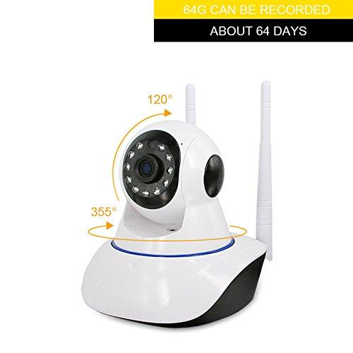 Wlan/Wifi IP Kamera, 1.0MP 720P Wireless Smart Kamera mit IR-Cut Nachtsicht, Stereo 2 Wege Audio zum Gegensprechen, PTZ Pan / Tilt, Videoaufzeichnung Überwachungskamera Für Haus - Ip-kamera-unsichtbare Ir