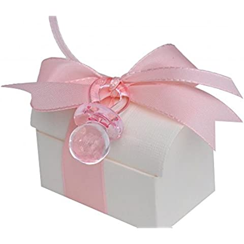 regalo para invitados baúl con chupete Color Rosa Bautizo Nacimiento niña mesa decorativo