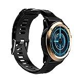 YWYU Mode Bluetooth Smart Watch Wasserdichte drahtlose Sportuhr Pulsmesser Fitness Tracker Kompatibel mit iPhone und Android (Farbe : Gold)
