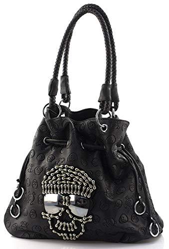 Star-Trends Damen Handtasche Totenkopf Skull Bone Bowling Bag Gothic Punk Damentasche Schultertasche Brillen Optik by (Schwarz)