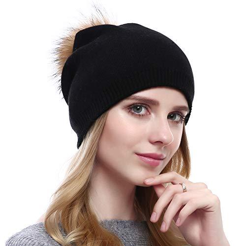 VEMOLLA Cappello Invernale Berretto di Lana per Le Donne con PON PON ... 93bc567297ff