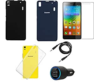 NIROSHA Tempered Glass Screen Guard Cover Car Charger for Lenovo A7000 - Combo