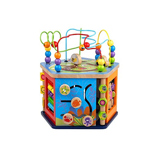 Alapet Krabben Musik Runde Perlen Spielzeug Multifunktions Fünfseitige Holz Kinder Runde Perlen Spielzeug 0-1-2-3 Jahre Alt Jungen und Mädchen Früherziehung Puzzle Schatzkiste -