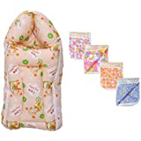 Baby Fly New Born Baby Combo Pack Of 1 Orange Teddy Print Baby Sleeping Bag/Carry Bag And 4 Plastic Diaper/Nappy Changing Sheets
